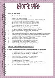 English Worksheet: REPORTED SPEECH-REPORTING VERBS-QUESTIONS-COMMANDS