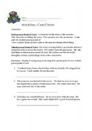 English worksheets: First Person and Third Person Point of View ...