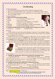 English Worksheet: Famous People - J.K.Rowling - Harry Potter�s author [with keys]