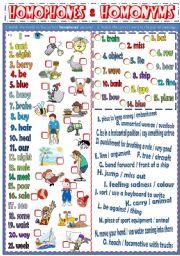 English Worksheets: Homonyms & Homophones (B&W version + KEY)
