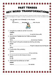FCE key word transformations with past tenses with answers ...