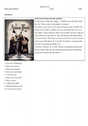 English Worksheets: The Addams Family - reading comprehension