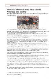 English Worksheets: Reading: Arkansas bird deaths (vocabulary exercise)