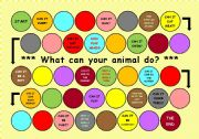 English Worksheet: Animals board game - What can your animal do?