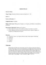 English Worksheet: lesson plan-13 Talking about obligation, no obligation, prohibition, recommendation, possibility.