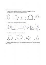English Worksheets: Line of Symmetry