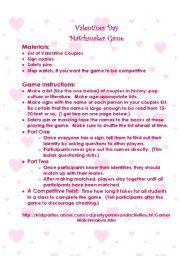 English Worksheet: Valentines Day Matchmaker Game