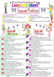 English Worksheet: Learn with Idioms ( Part 19) : Idioms with Fashion, Shoe, and Wear ( B&W Version)
