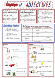 English Worksheet: Comparison of Adjectives.