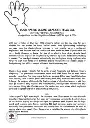 English Worksheets: clean hands unseen