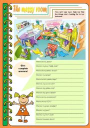 English Worksheet: The messy room � there be, prepositions, to be [4 tasks] KEYS INCLUDED ((3 pages)) ***editable