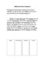 English Worksheets: Different Parts of Speech