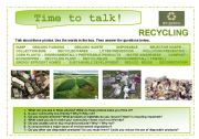 English Worksheet: Time to talk (11): Recycling