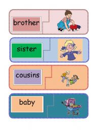 English Worksheet: family word to picture jigsaw