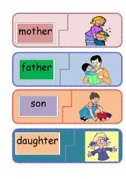 English Worksheet: family word to picture jigsaw 1