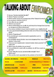 English Worksheets: TALKING ABOUT ENVIRONMENT