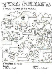 English Worksheet: Farm animals!