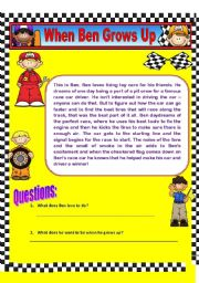 English Worksheet: Comprehension and Grammar (Using Contractions) - When Ben Grows Up