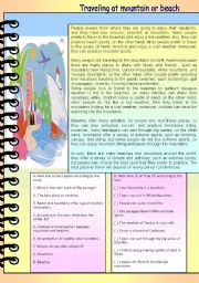 English Worksheets: reading comprehension-traveling at beaches or mountains