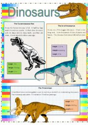 English Worksheets: Dinousaurs - 4 pages