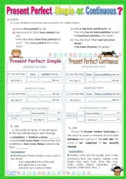 English Worksheet: Present Perfect   Simple  or   Continuous?   - An Inductive Approach
