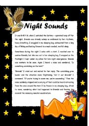 English Worksheets: Night Sounds - READING COMPREHENSION