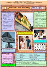 English Worksheet: ANOTHER BRICK IN THE WALL II - PINK FLOYD - PART 01 - FULLY EDITABLE AND FULLY CORRECTABLE