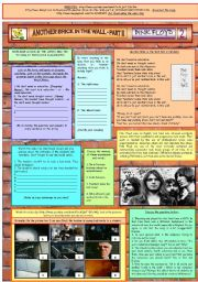 English Worksheet: ANOTHER BRICK IN THE WALL II - PINK FLOYD - PART 02 - FULLY EDITABLE AND FULLY CORRECTABLE