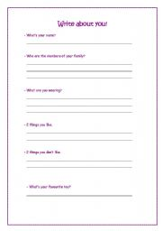 English Worksheets: Write about you!