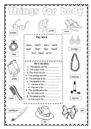English Worksheets: Things For Body