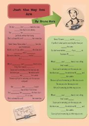 English Worksheet: Just The Way You Are [Bruno Mars] - Editable