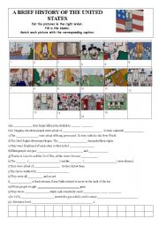 English Worksheet: A brief history of the United States of America