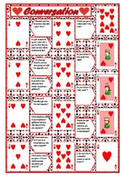 English Worksheet: Playing cards + conversation (game) � 4 pages with questions + directions ((5 pages)) ***editable