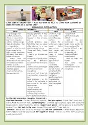 English Worksheet: CONVERSATION-CLASS DEBATE:EMIGRATION -  WILL YOU EVER BE ABLE TO LEAVE YOUR COUNTRY IN ORDER TO WORK IN A RICHER ONE?