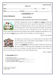 English Worksheet: TEST 7th GRADE
