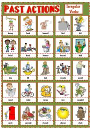 English Worksheets: PAST ACTIONS PICTIONARY - Irregular verbs (2)