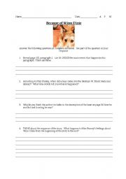 Printables Because Of Winn Dixie Worksheets english worksheets winn dixie comprehension questions worksheet questions