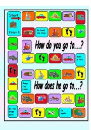 English Worksheet:  asking and answering questions  about Transportation board game