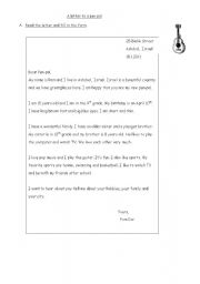 English Worksheet: a letter to a pen pal