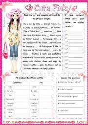 English Worksheets: Cute Pinky