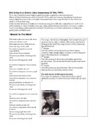 English Worksheets: Bob Dylan and Blowin� in the wind