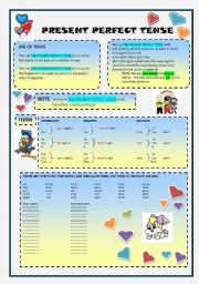 English Worksheet: PRESENT PERFECT TENSE (2 pages)
