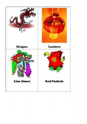 English Worksheet: Chinese Lunar New Year Flash Cards Set 1 of 2