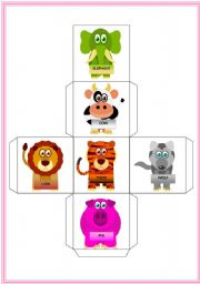 English Worksheets: Animals dice- Two pages