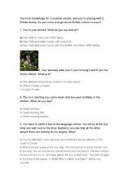 English Worksheet: british culture quiz