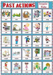 English Worksheets: PAST ACTIONS PICTIONARY - Irregular verbs (3)