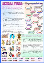 English Worksheet:  REGULAR VERBS: -ED PRONUNCIATION