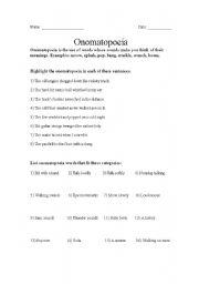 Worksheets Onomatopoeia Worksheet english teaching worksheets onomatopoeia worksheet