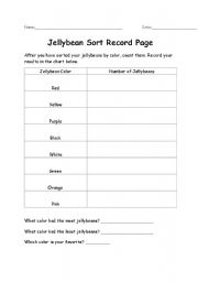 English Worksheets: Jellybean Sort Record Page