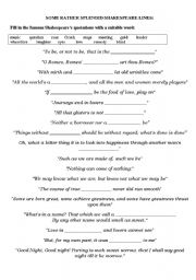 english worksheet shakespeare s quotes. Black Bedroom Furniture Sets. Home Design Ideas